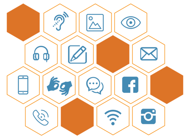 Group of orange and blue icons showing different communication methods